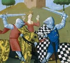 Palmède le chevalier échiqueté défiant Tristan